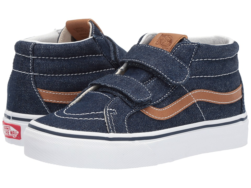 Vans Kids SK8-Mid Reissue V (Little Kid/Big Kid) ((Denim C&L) Dress Blues/Chipmunk) Boy's Shoes