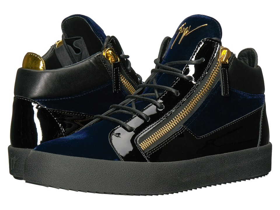 Giuseppe Zanotti - May London Mid Top Velvet Sneaker (Navy) Mens Shoes