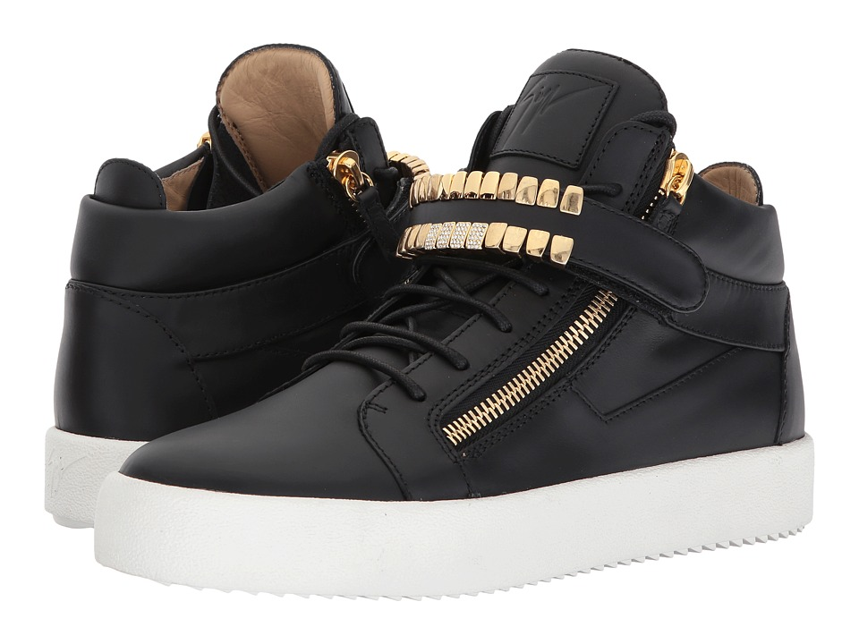 Giuseppe Zanotti - May London Mid Top Grill Sneaker (Black) Mens Lace up casual Shoes