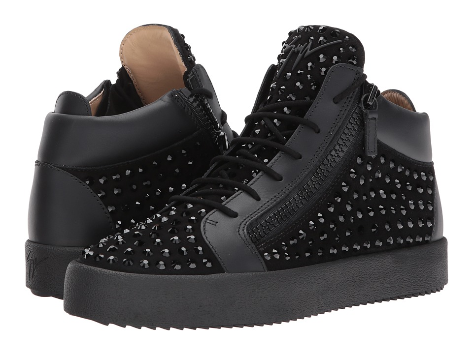 Giuseppe Zanotti - May London Mid Top Studded Sneaker (Black) Mens Lace up casual Shoes