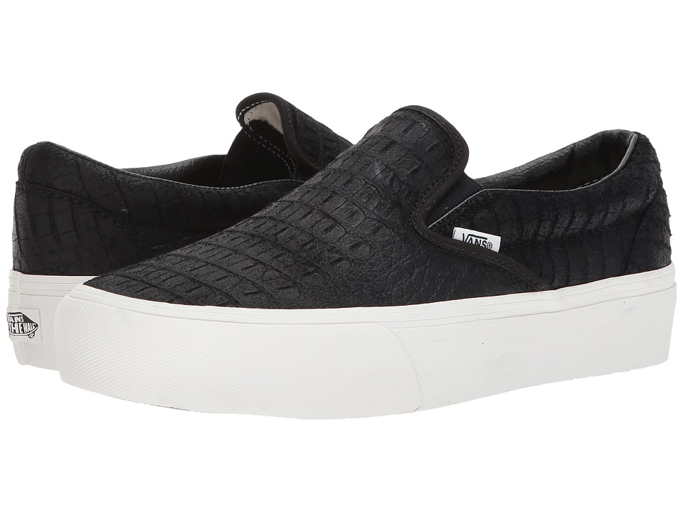Vans Classic Slip-On Platform ((Embossed) Black/Blanc De Blanc) Slip on Shoes