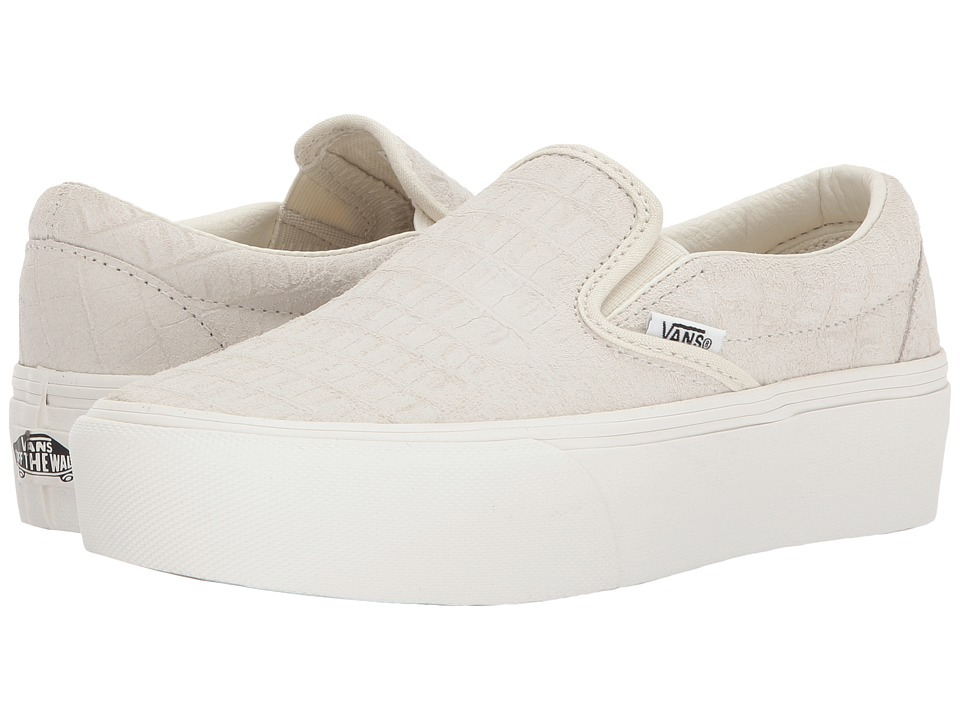 Vans Classic Slip-On Platform ((Embossed) Turtledove/Blanc De Blanc) Slip on Shoes
