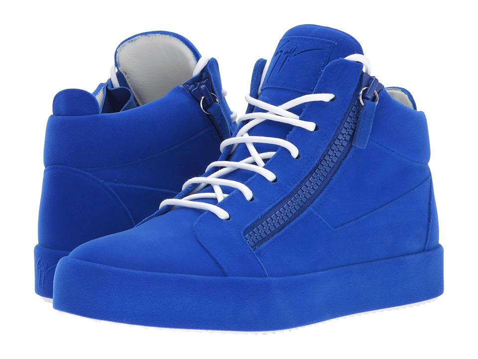 Giuseppe Zanotti - May London Mid Top Flocked Sneaker (Electric) Mens Lace up casual Shoes