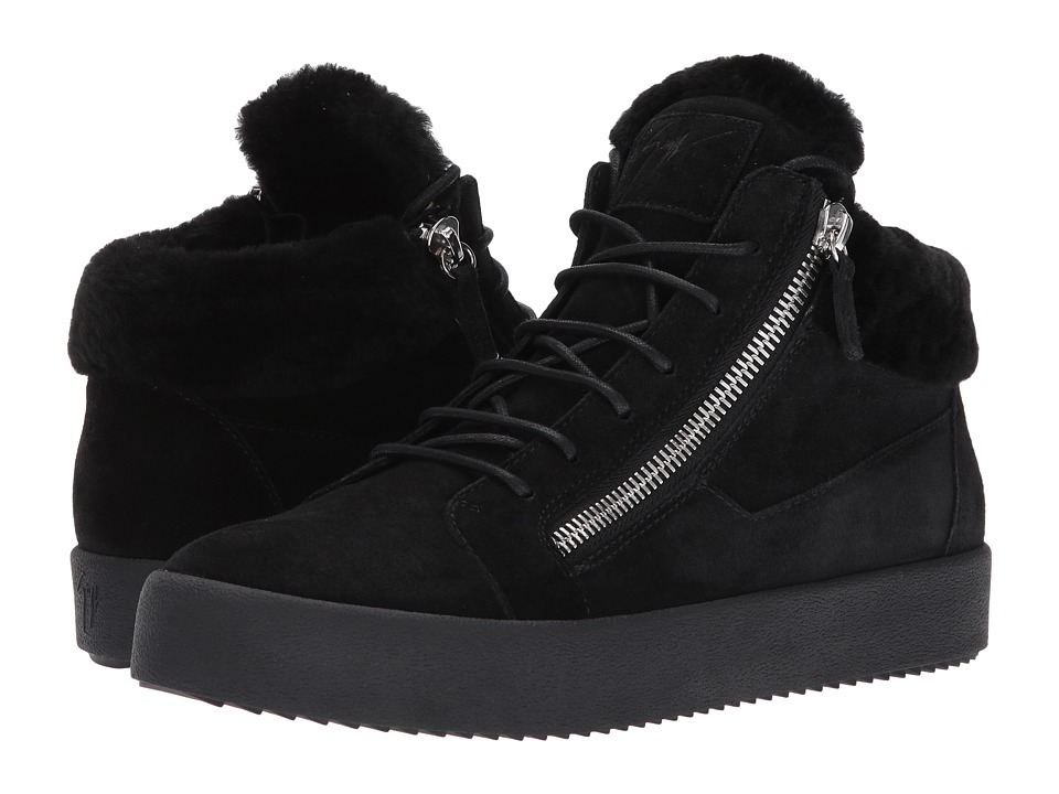 Giuseppe Zanotti - May London Mid Top Shearling Sneaker (Black) Mens Lace up casual Shoes