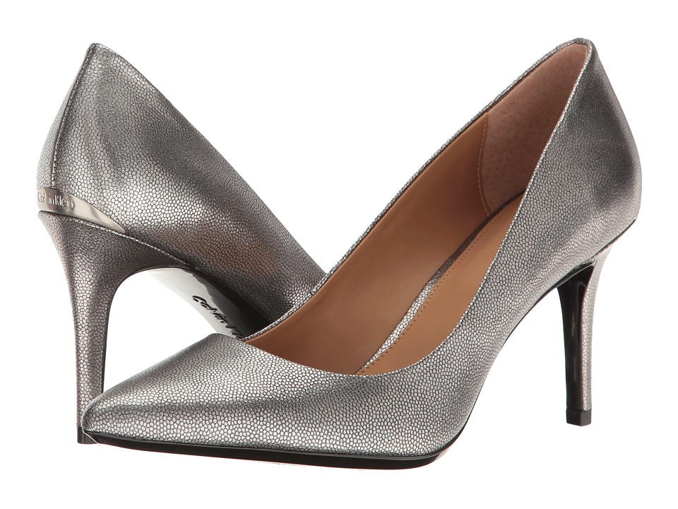 Calvin Klein Gayle (Dark Silver Metallic Stingray Print Leather) High Heels