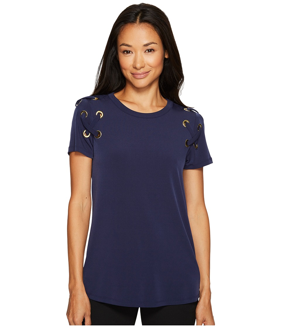 MICHAEL Michael Kors Short Sleeve Armhole Lacing Tee (True Navy) Women