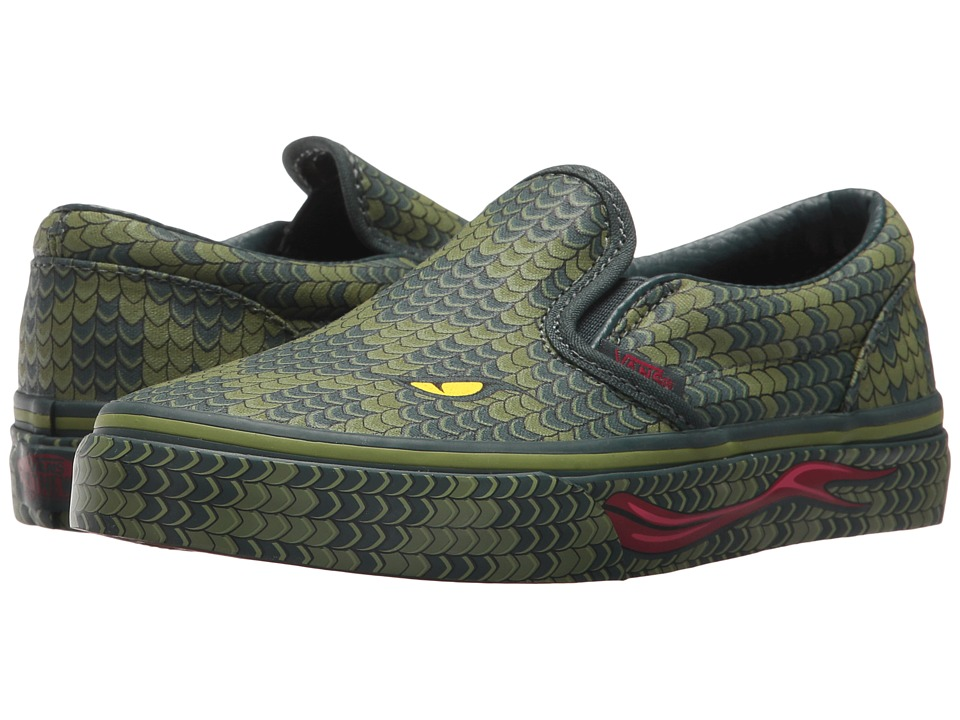 Vans Kids Classic Slip-On (Little Kid/Big Kid) ((Poison) Reptile/Green Lizard) Boy's Shoes