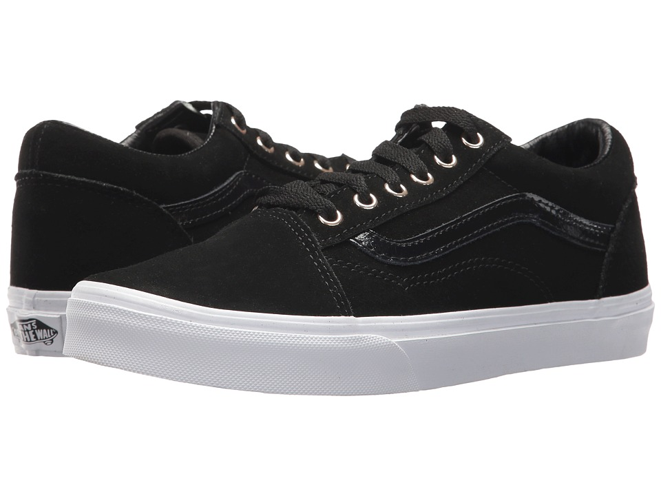 Vans Kids Old Skool (Little Kid/Big Kid) ((Suede) Black/Gold) Girl's Shoes
