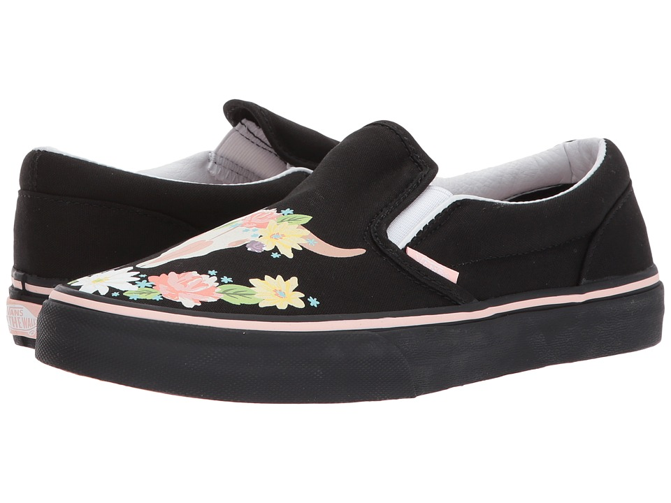 Vans Kids Classic Slip-On (Little Kid/Big Kid) ((Flower Crown) Black/English Rose) Girl's Shoes