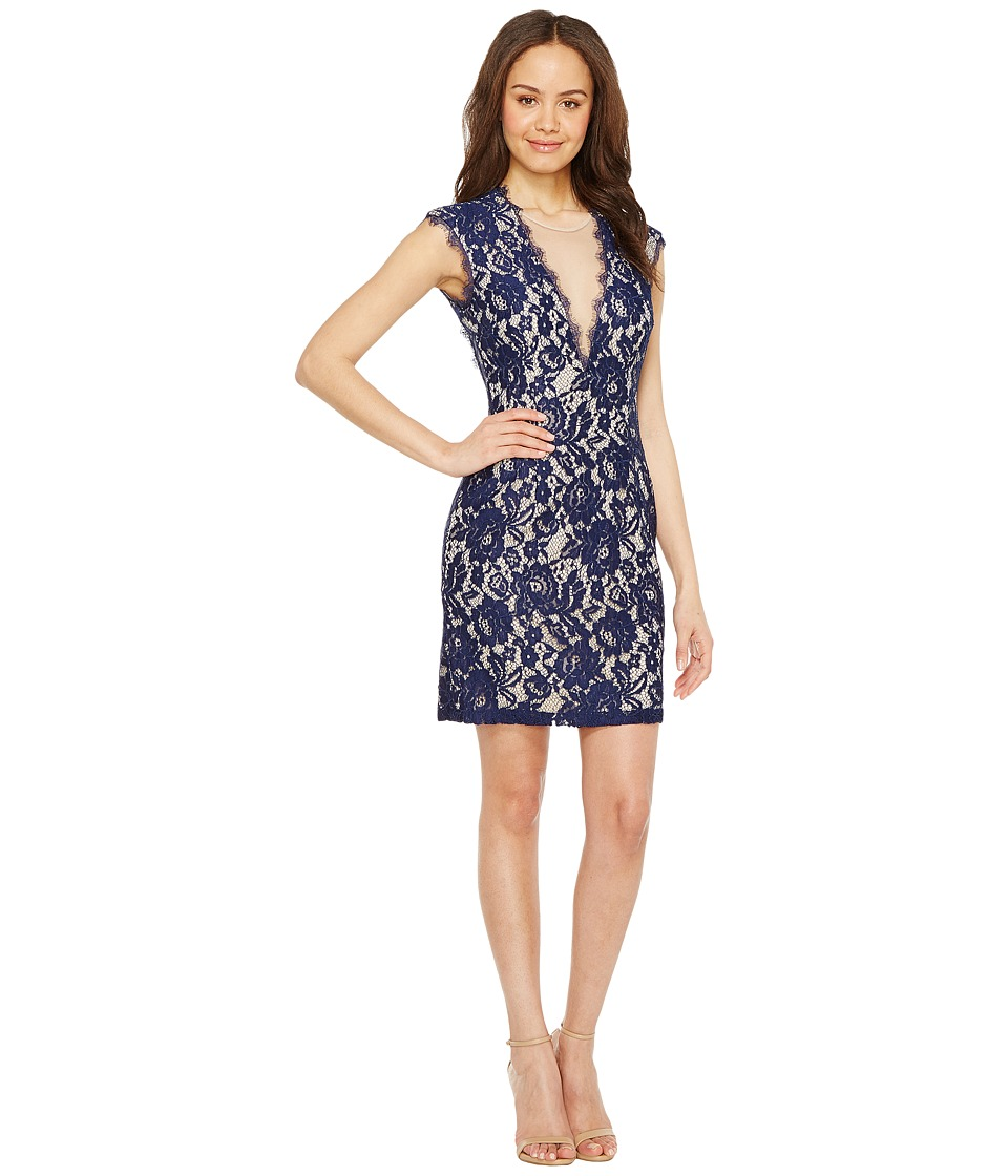Aidan Mattox Cap Sleeve Stretch Lace Cocktail Dress (Navy/Nude) Women