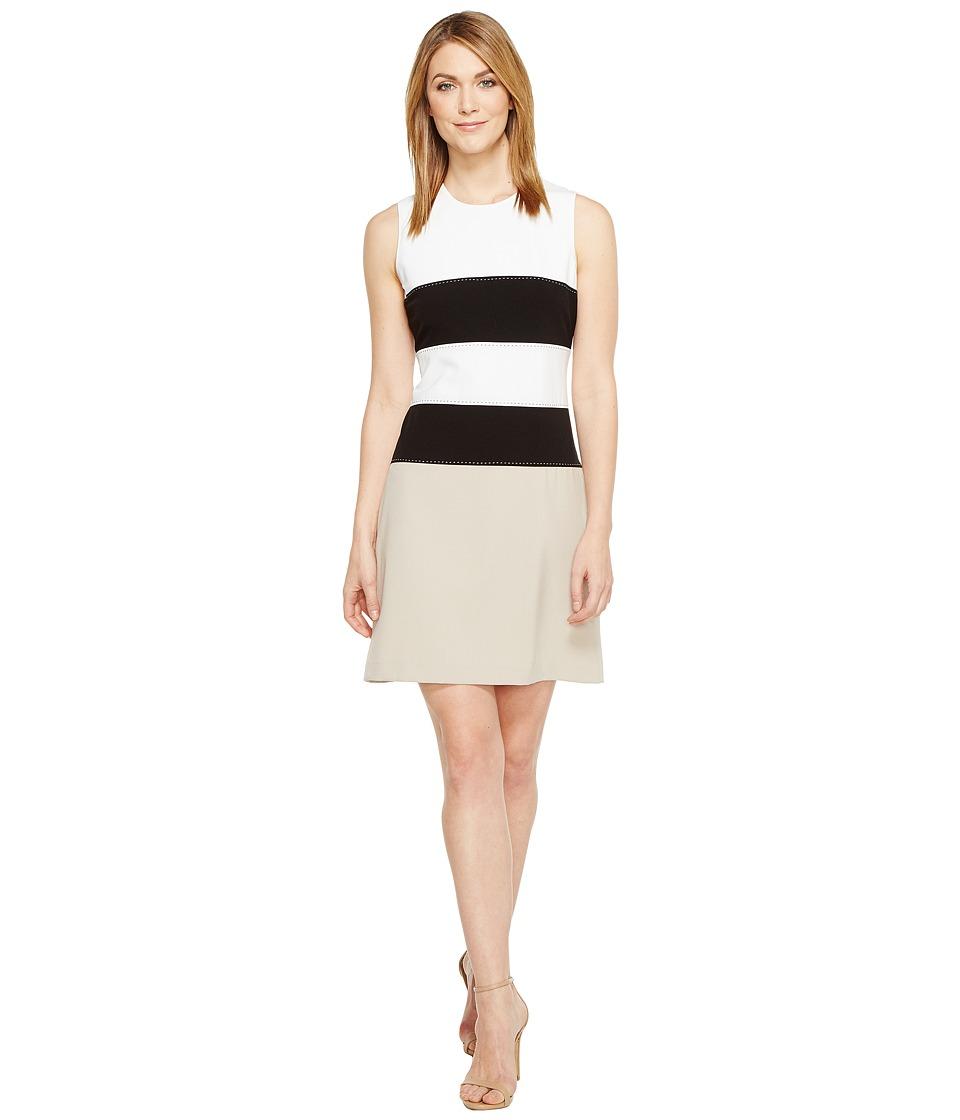 Calvin Klein Color Block Lux Fit Flare Dress CD7X145L (White/Black Multi) Women