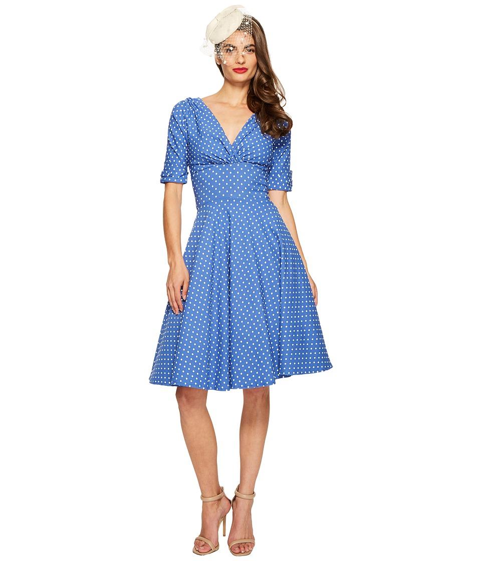 Unique Vintage Delores Dress (Blue/White Dot) Women