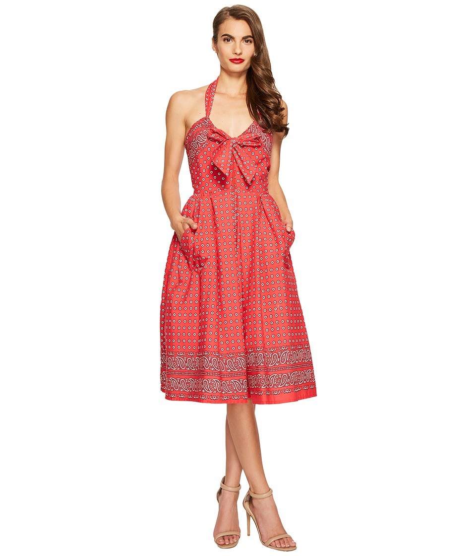 Unique Vintage Paisley Print Dress (Red) Women