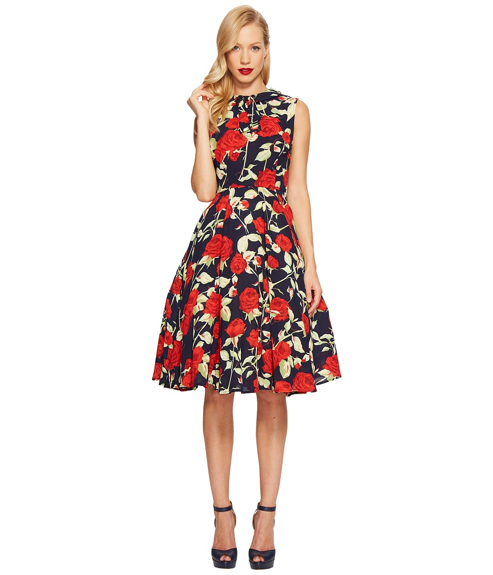 Unique Vintage High Neck Sleeveless (Navy Floral) Women