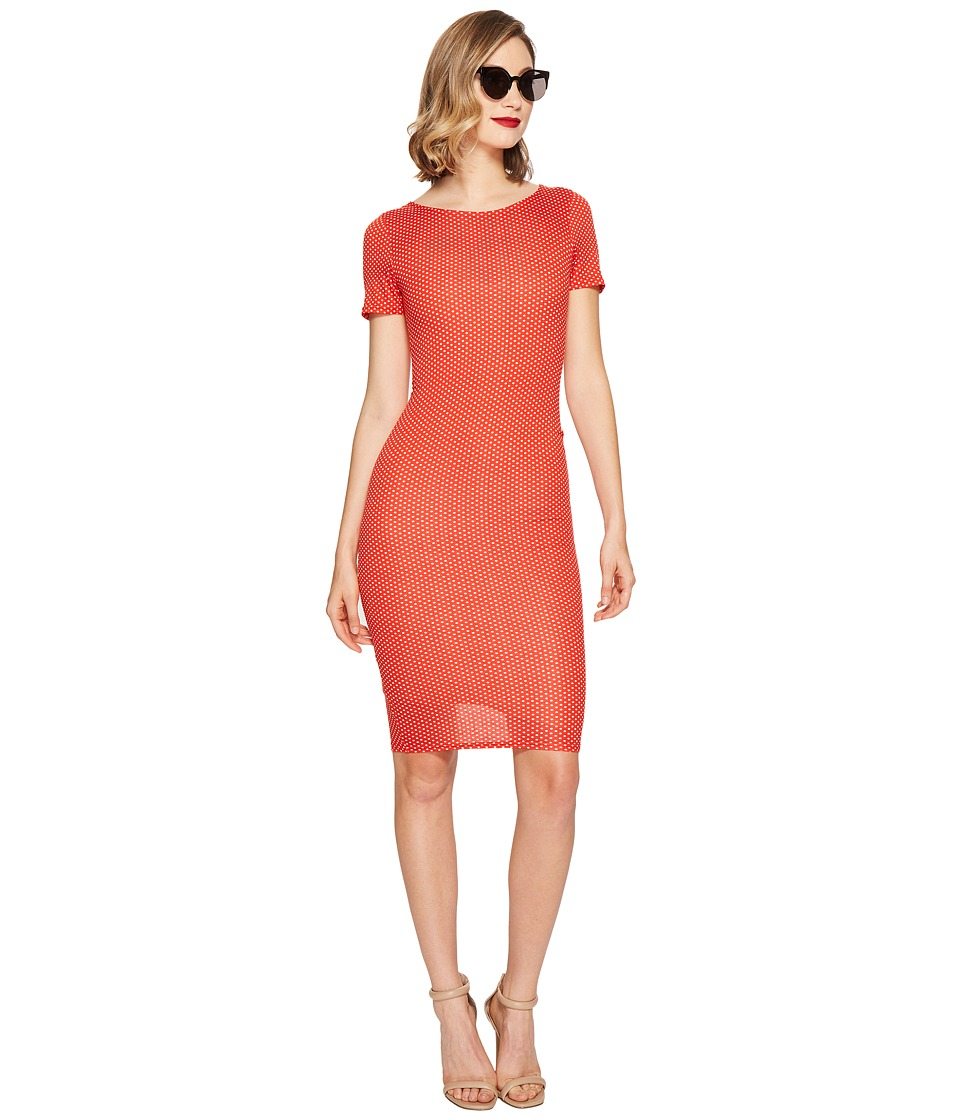 Unique Vintage Fitted Wiggle Dress (Red Pin Dot) Women