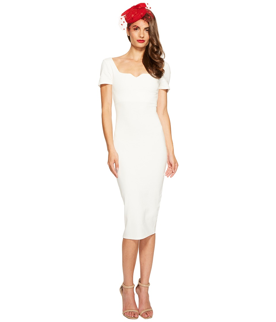Unique Vintage Knit Pencil Dress (Ivory) Women