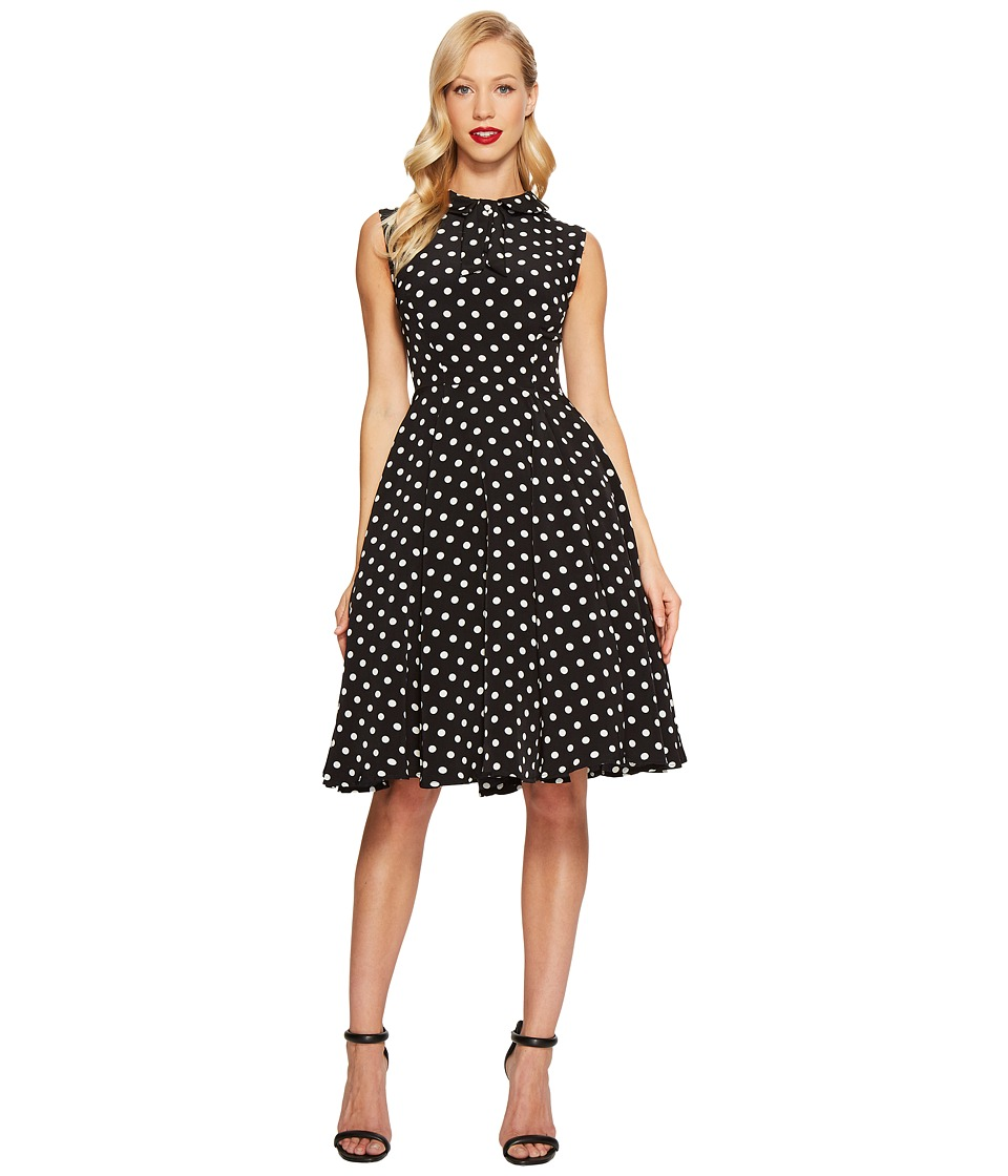 Unique Vintage Tie Neck Dress (Black/White Dots) Women