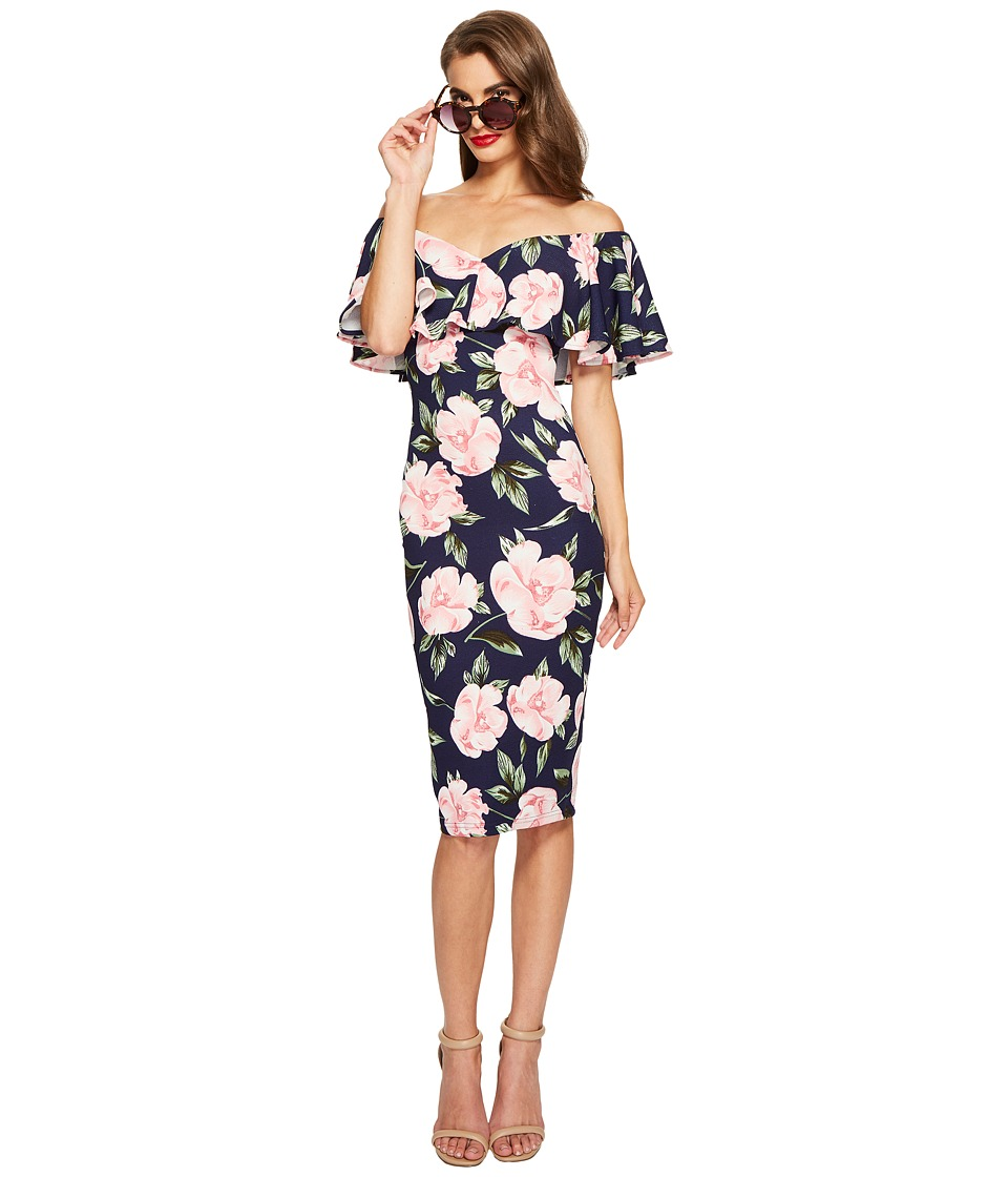 Unique Vintage Ruffled Dress (Navy Floral) Women