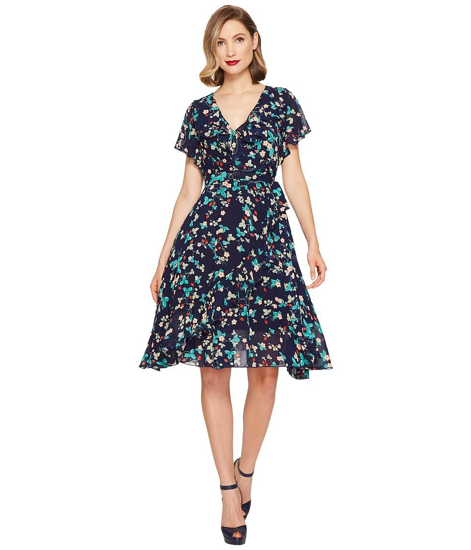 Unique Vintage Wrap Dress (Strawberry Print) Women