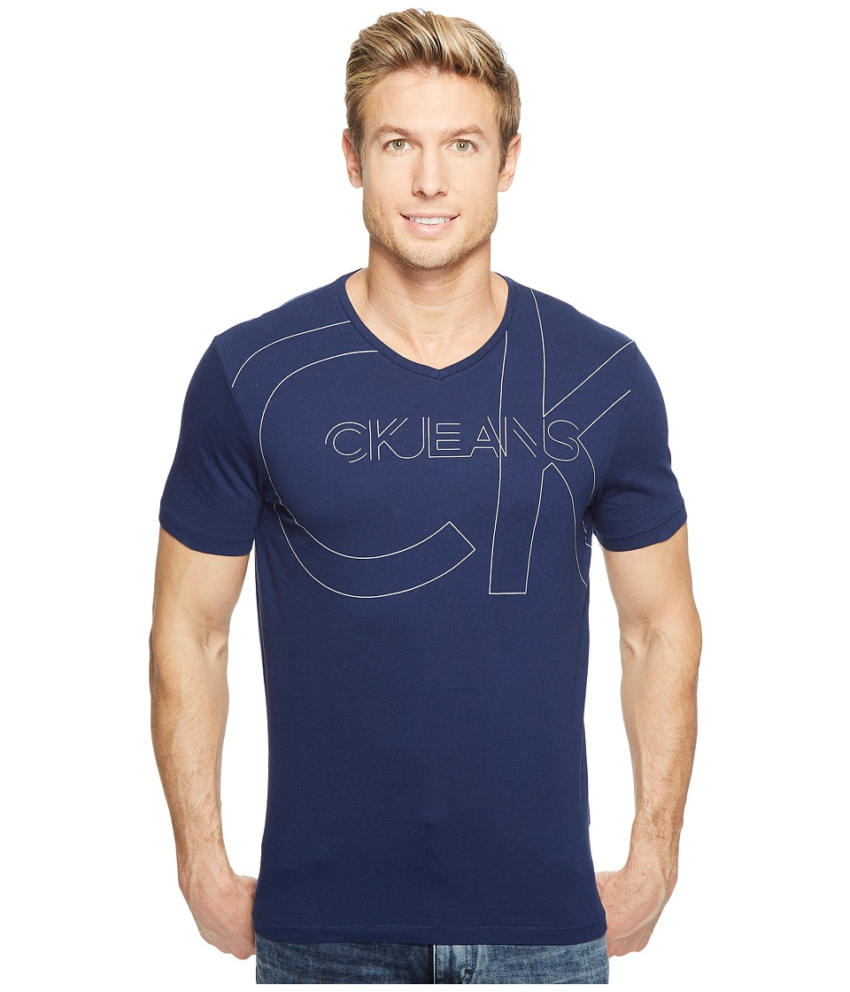 Calvin Klein Jeans Linear Metallic Short Sleeve V-Neck Tee (Ionian) Men