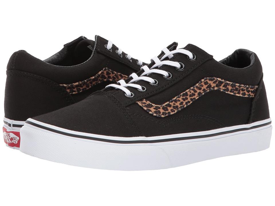 Vans Kids Old Skool (Little Kid/Big Kid) ((Mini Leopard) Brown/True White) Girl