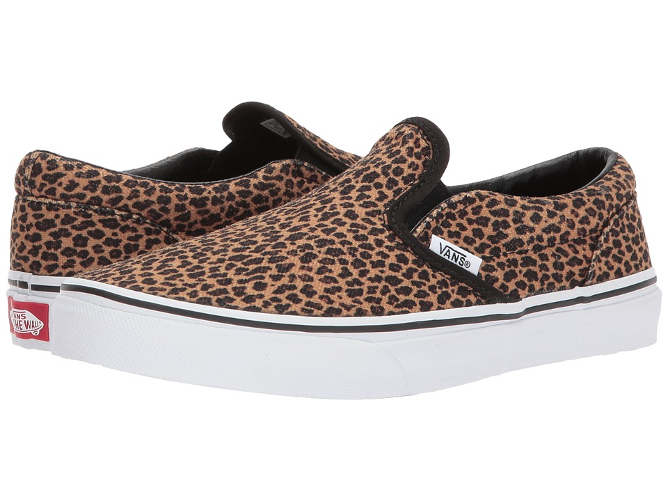 Vans Kids Classic Slip-On (Little Kid/Big Kid) ((Mini Leopard) Brown/True White) Girl
