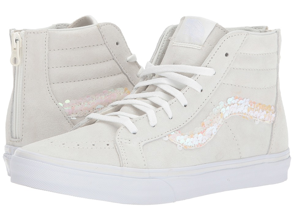 Vans Kids Sk8-Hi Zip (Little Kid/Big Kid) ((Sequins) Blanc De Blanc/True White) Girl's Shoes
