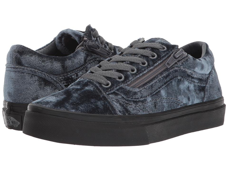 Vans Kids Old Skool Zip (Little Kid/Big Kid) ((Velvet) Gray/Black) Girls Shoes