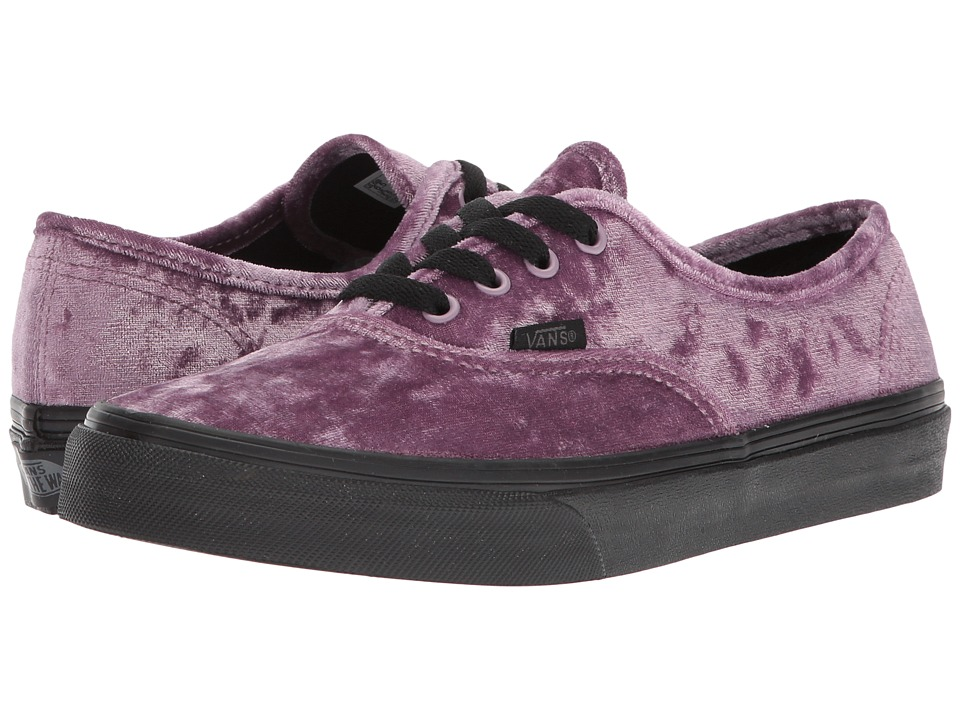 Vans Kids Authentic (Little Kid/Big Kid) ((Velvet) Sea Fog/Black) Girl's Shoes