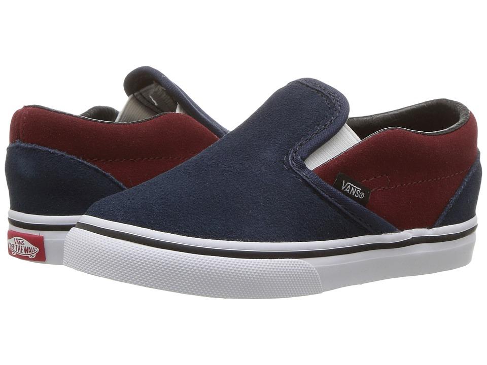 Vans Kids Classic Slip-On (Toddler) ((Suede) Dress Blues/Madder Brown) Boys Shoes