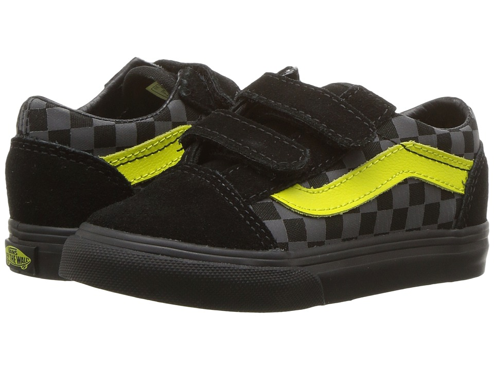 Vans Kids Old Skool V (Toddler) ((Checkerboard) Asphalt/Reflective) Boys Shoes