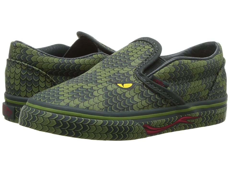 Vans Kids Classic Slip-On (Toddler) ((Poison) Reptile/Green Lizard) Boys Shoes
