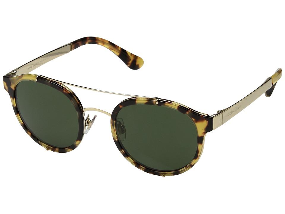 Dolce & Gabbana DG2184 (Yellow Havana/Green) Fashion Sunglasses