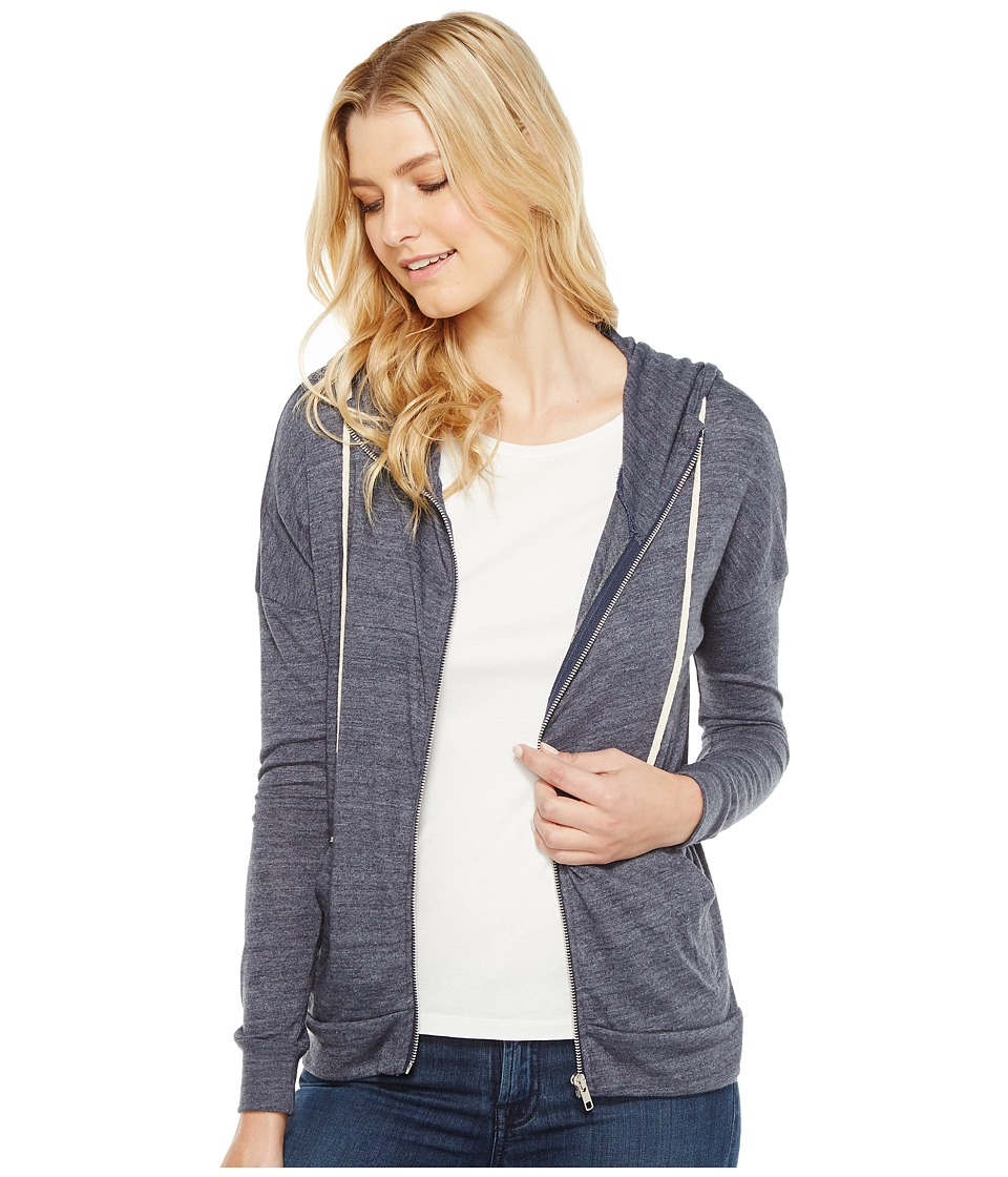 Alternative Eco Jersey Cool Down Zip Hoodie (Eco True Navy) Women
