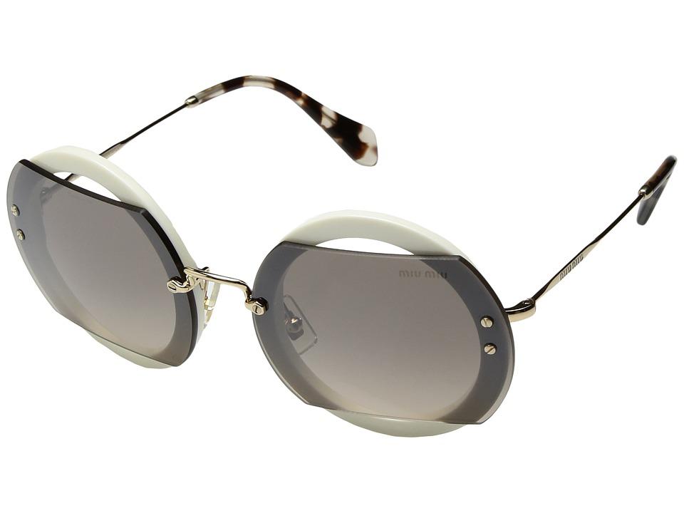 Miu Miu 0MU 06SS (Ivory/Brown Gradient/Grey Mirror Silver) Fashion Sunglasses