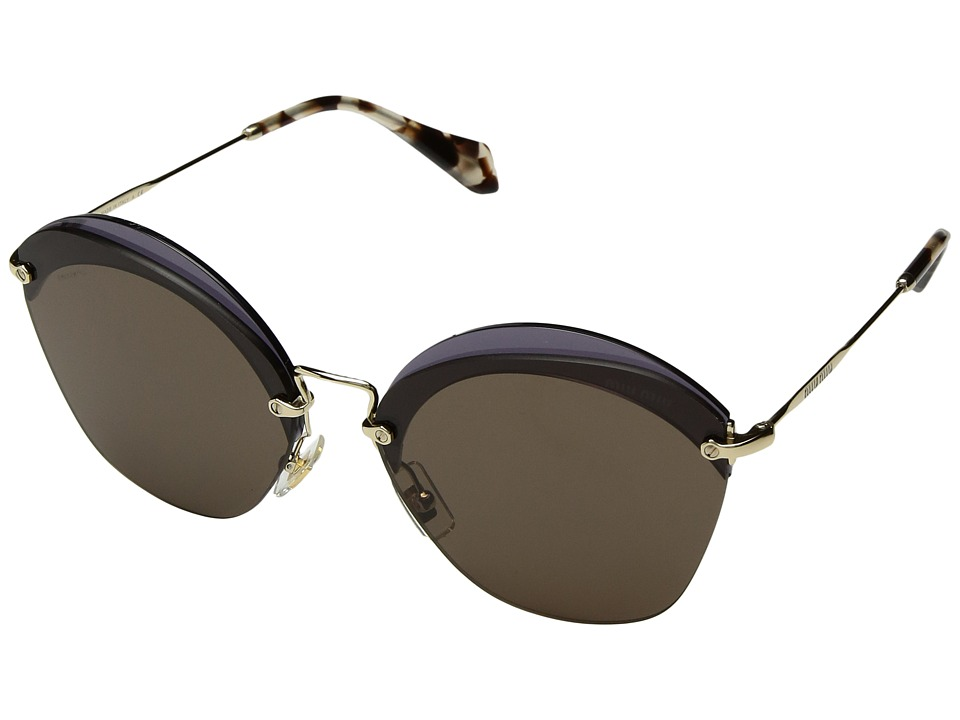 Miu Miu 0MU 53SS (Transparent Violet/Pale Gold/Brown) Fashion Sunglasses