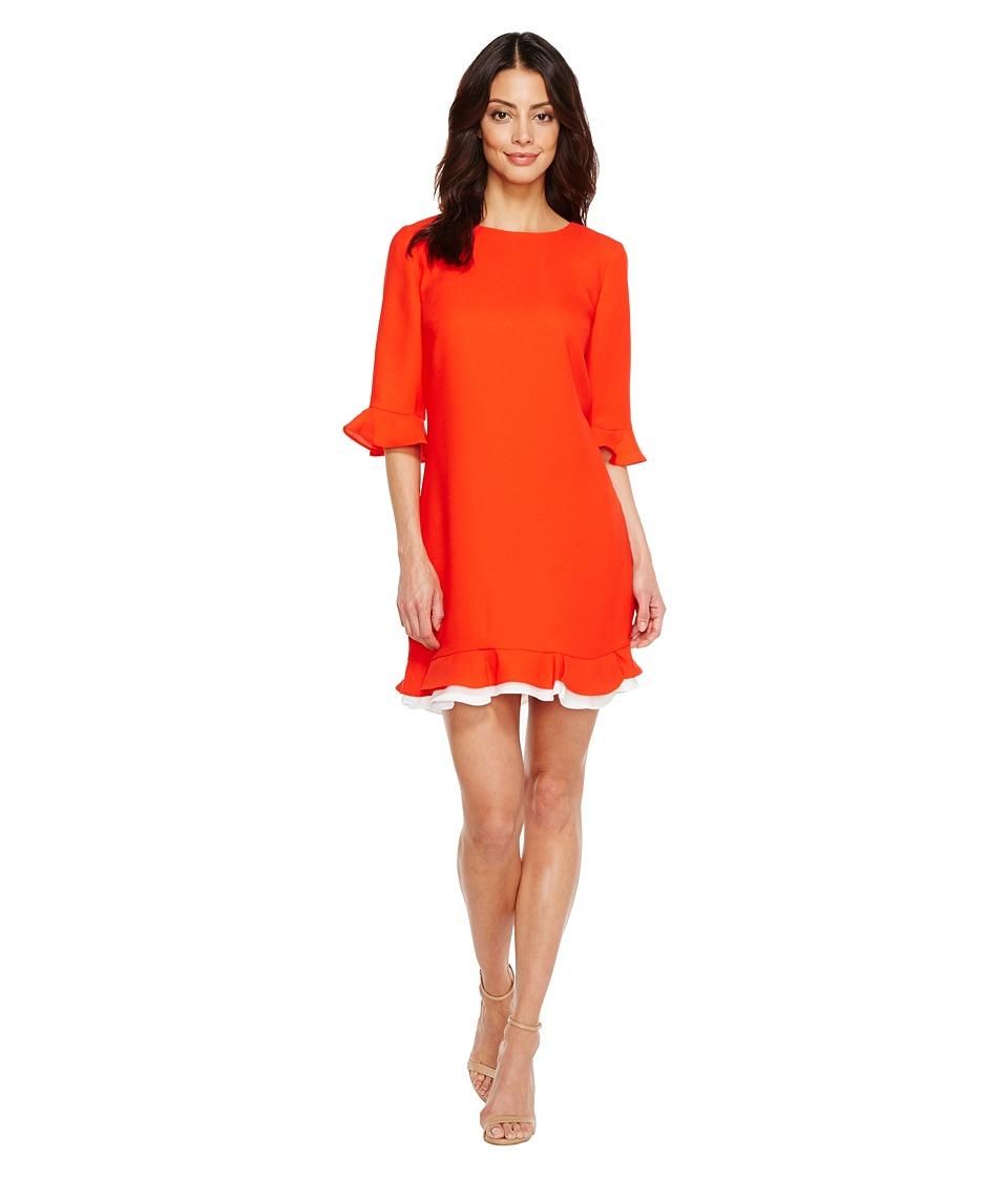 CeCe Kate 3/4 Sleeve Ruffle (Fiery Red) Women