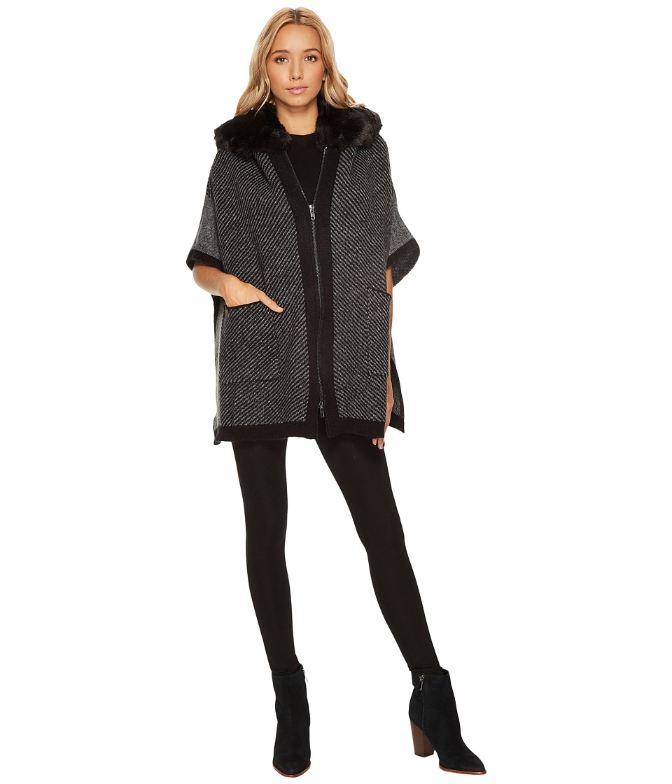 Steve Madden Zip Front Fur Hooded Thick Knit Ruana (Neutr...