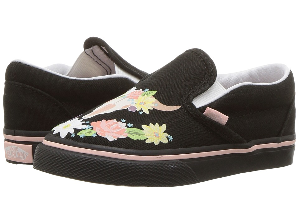 Vans Kids Classic Slip-On (Toddler) ((Flower Crown) Black/English Rose) Girls Shoes