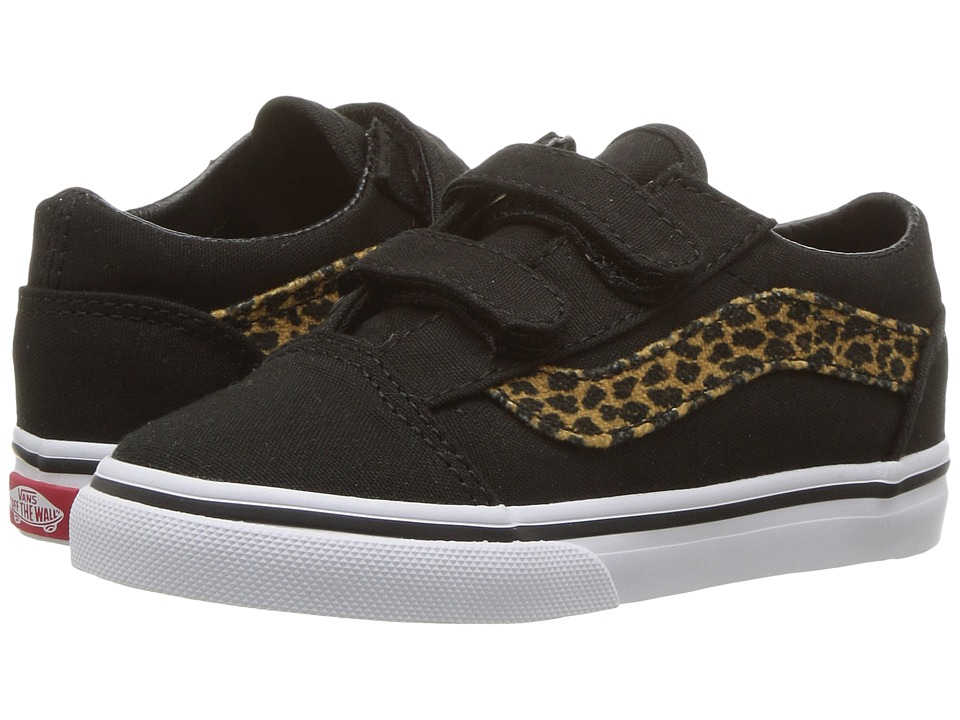Vans Kids Old Skool V (Toddler) ((Mini Leopard) Brown/True White) Girls Shoes