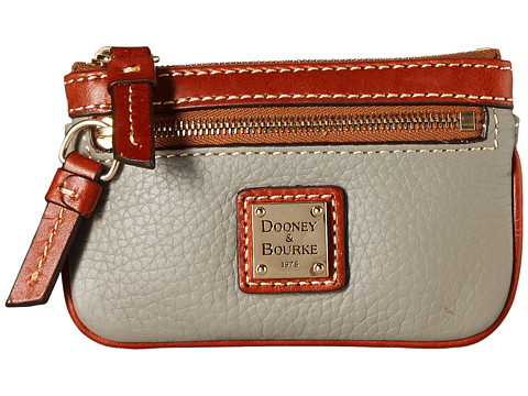 Dooney & Bourke Pebble Small Coin Case - Smoke/Tan Trim