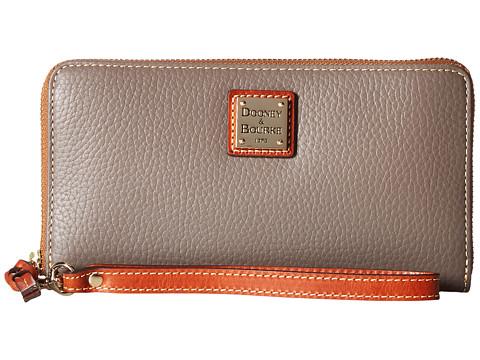 Dooney & Bourke Pebble Leather Large Zip Around Wristlet - Elephant/Tan Trim