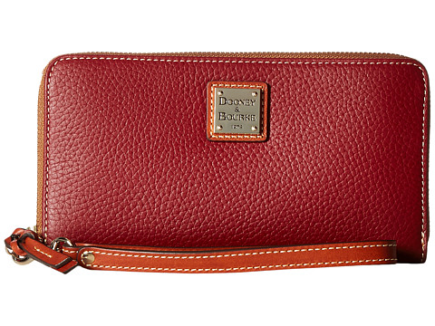Dooney & Bourke Pebble Leather Large Zip Around Wristlet - Cranberry/Tan Trim