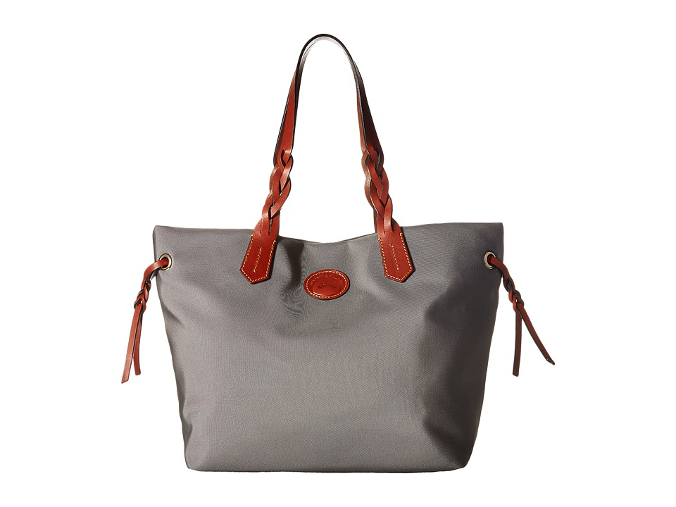 Dooney & Bourke - Nylon Shopper (Grey/Tan Trim) Tote Handbags
