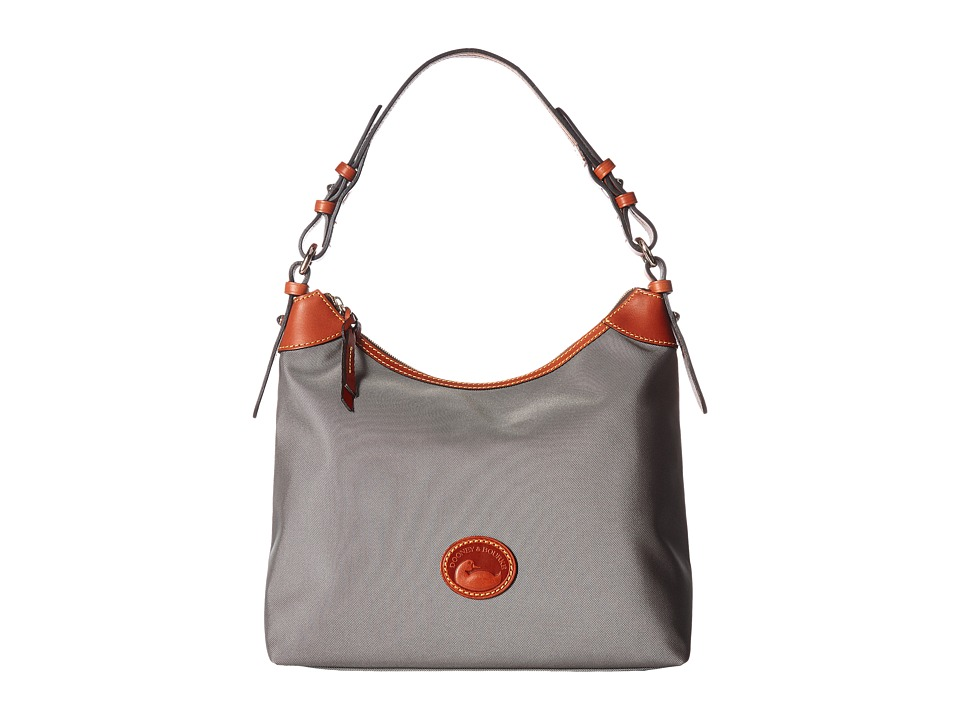 Dooney & Bourke - Nylon Large Erica (Grey/Tan Trim) Hobo Handbags