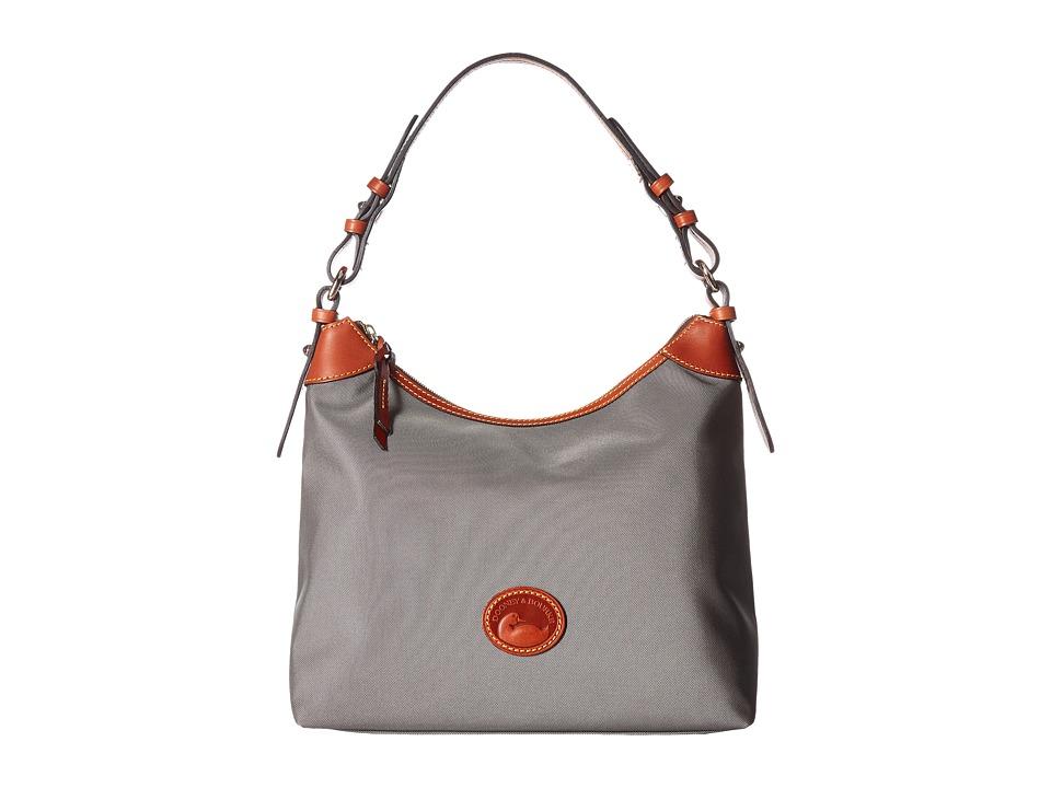 Dooney & Bourke - Nylon Large Erica (Grey/Tan Trim) Hobo Handbags