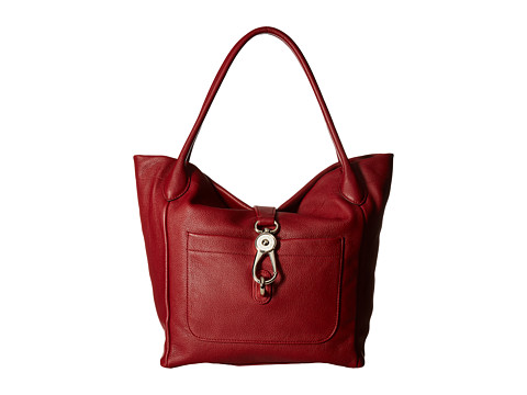 Dooney & Bourke Belvedere Logo Lock Tote - Cranberry/Self Trim