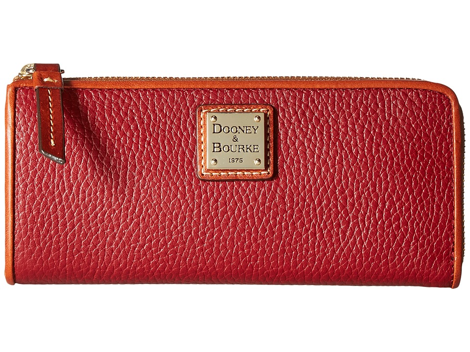 Dooney & Bourke Pebble Zip Clutch (Cranberry/Tan Trim) Clutch Handbags