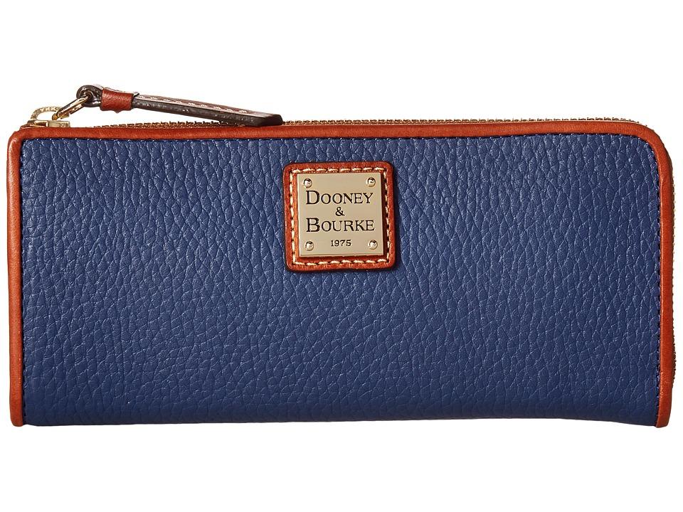 Dooney & Bourke - Pebble Zip Clutch (Ocean/Tan Trim) Clutch Handbags
