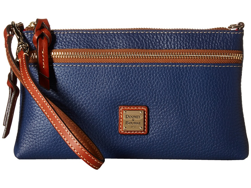 Dooney & Bourke - Pebble Tech Top Zip Pouch (Ocean/Tan Trim) Handbags